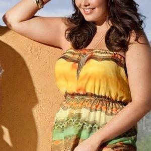 Lane Bryant•Yellow Tribal Maxi Lined Dress